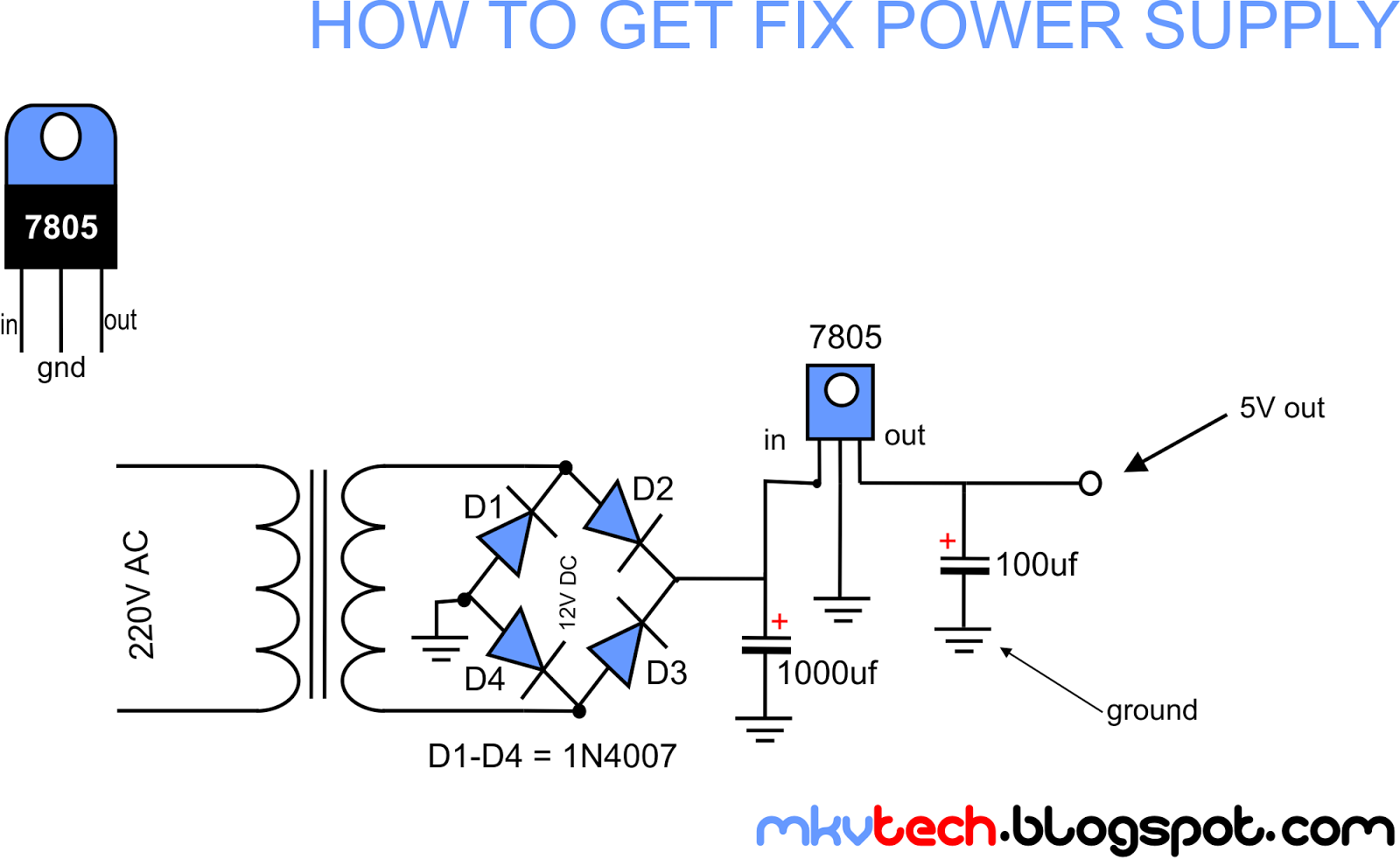 medium resolution of the circuit diagram shown above shows how to connect a linear regulator to create a fixed power supply to your load in this diagram we are going to use