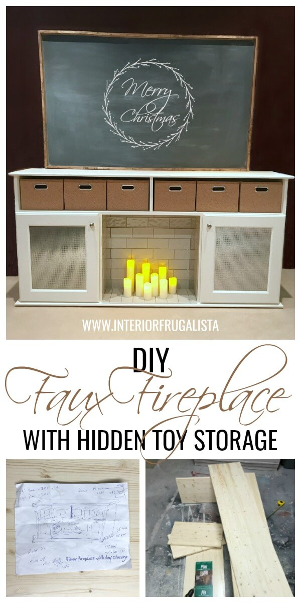 DIY Faux Fireplace With Hidden Toy Storage