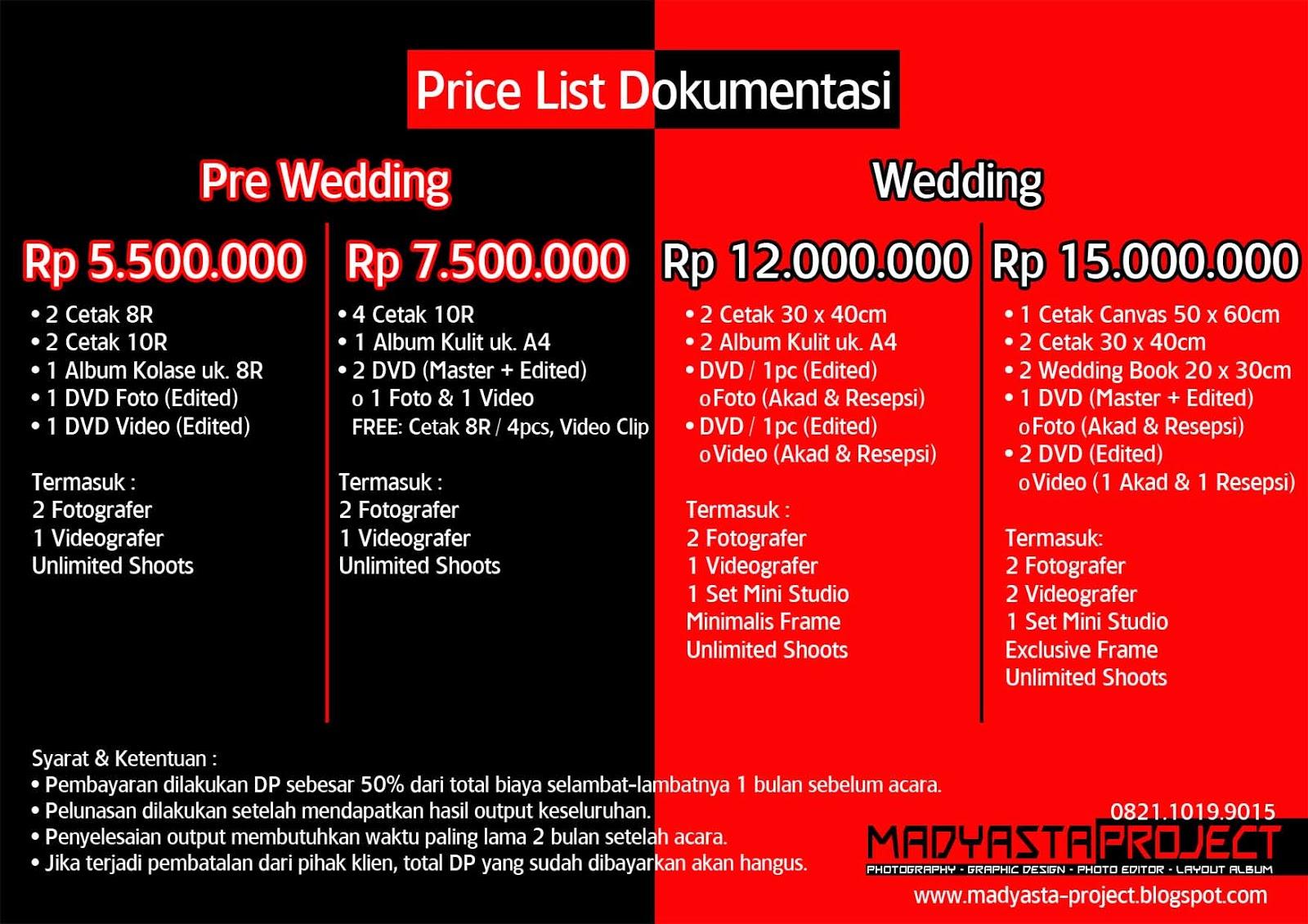 Price List Edit Foto Doentasi