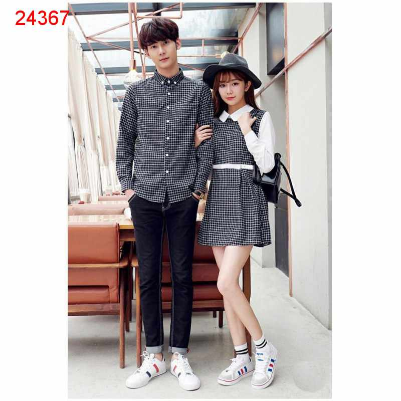 Jual Dress Couple Dress Kotak Hitam Putih - 24367
