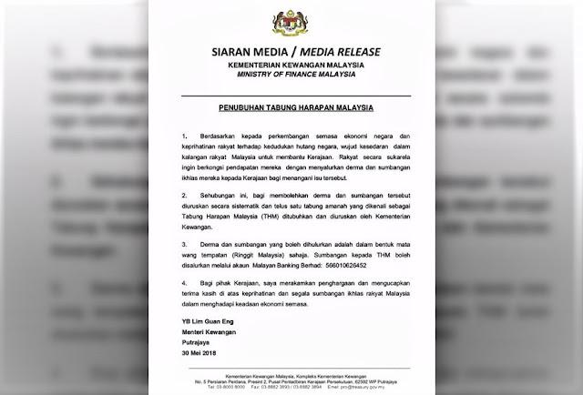 tabung harapan malaysia derma