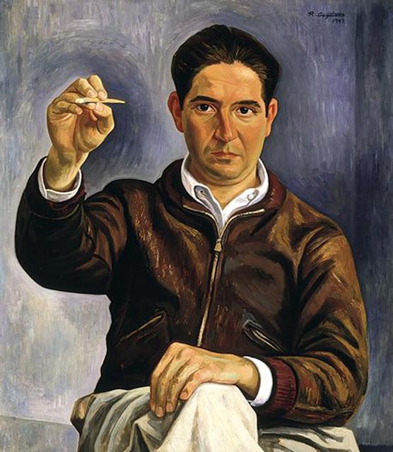 José Raúl Anguiano Valadez, Self Portrait, Portraits of Painters, José Raúl Anguiano, Fine arts, Portraits of painters blog, Paintings of José Raúl Anguiano, Painter José Raúl Anguiano