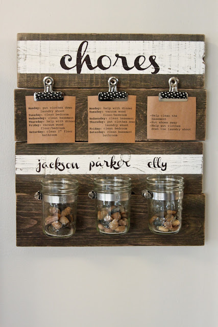 Shabby Chic Chores Chart with Pebbles
