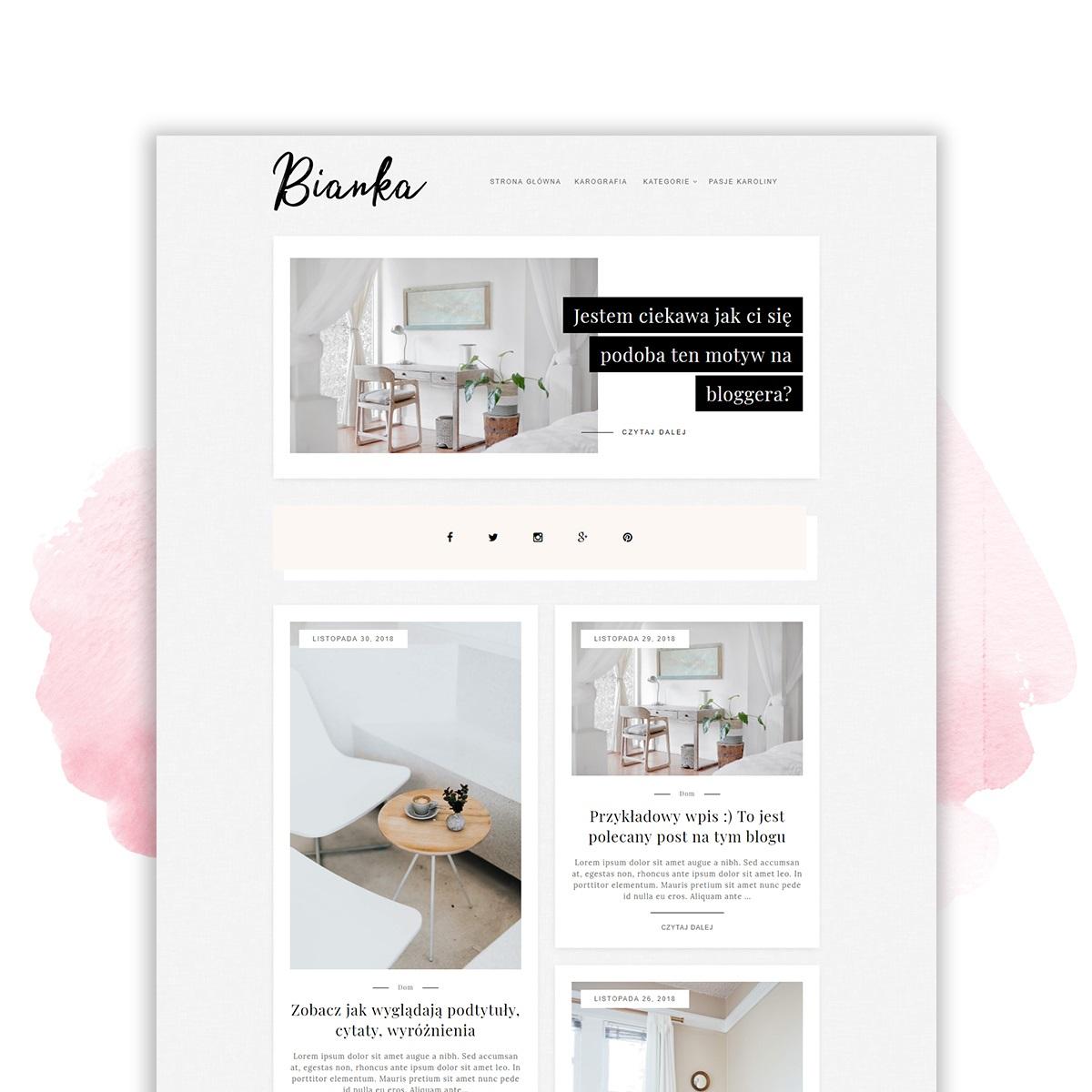 Motyw (szablon) na bloggera BIANKA - już w sklepiku!