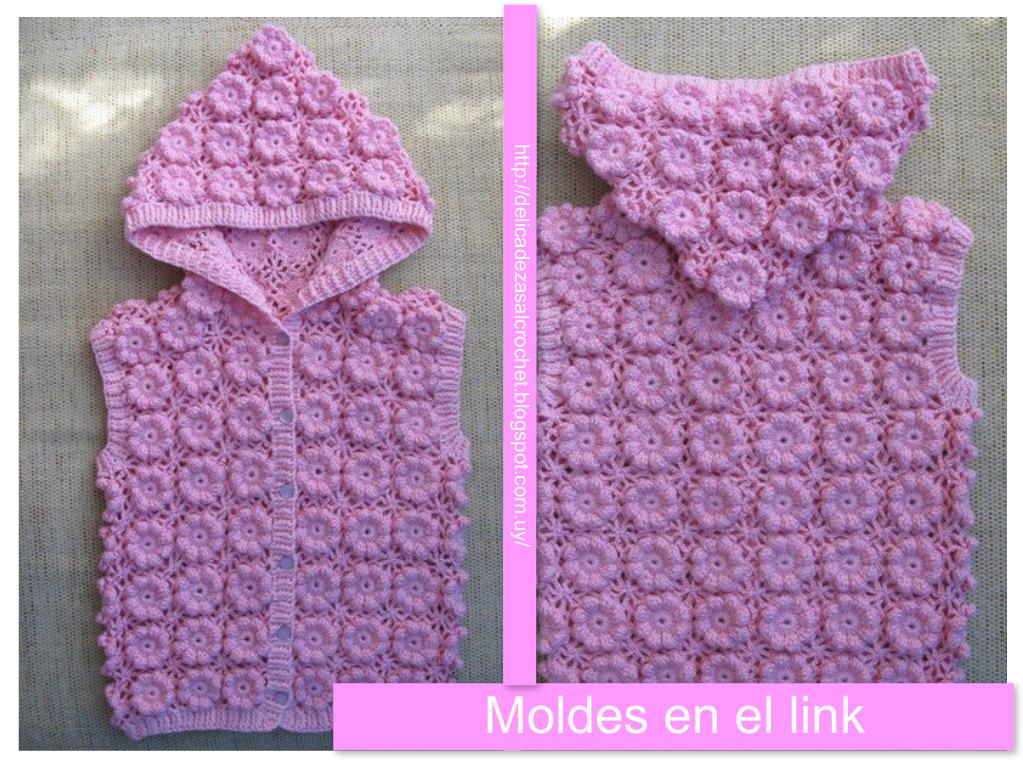 Delicadezas en crochet Gabriela: Chaleco con capucha para niñas