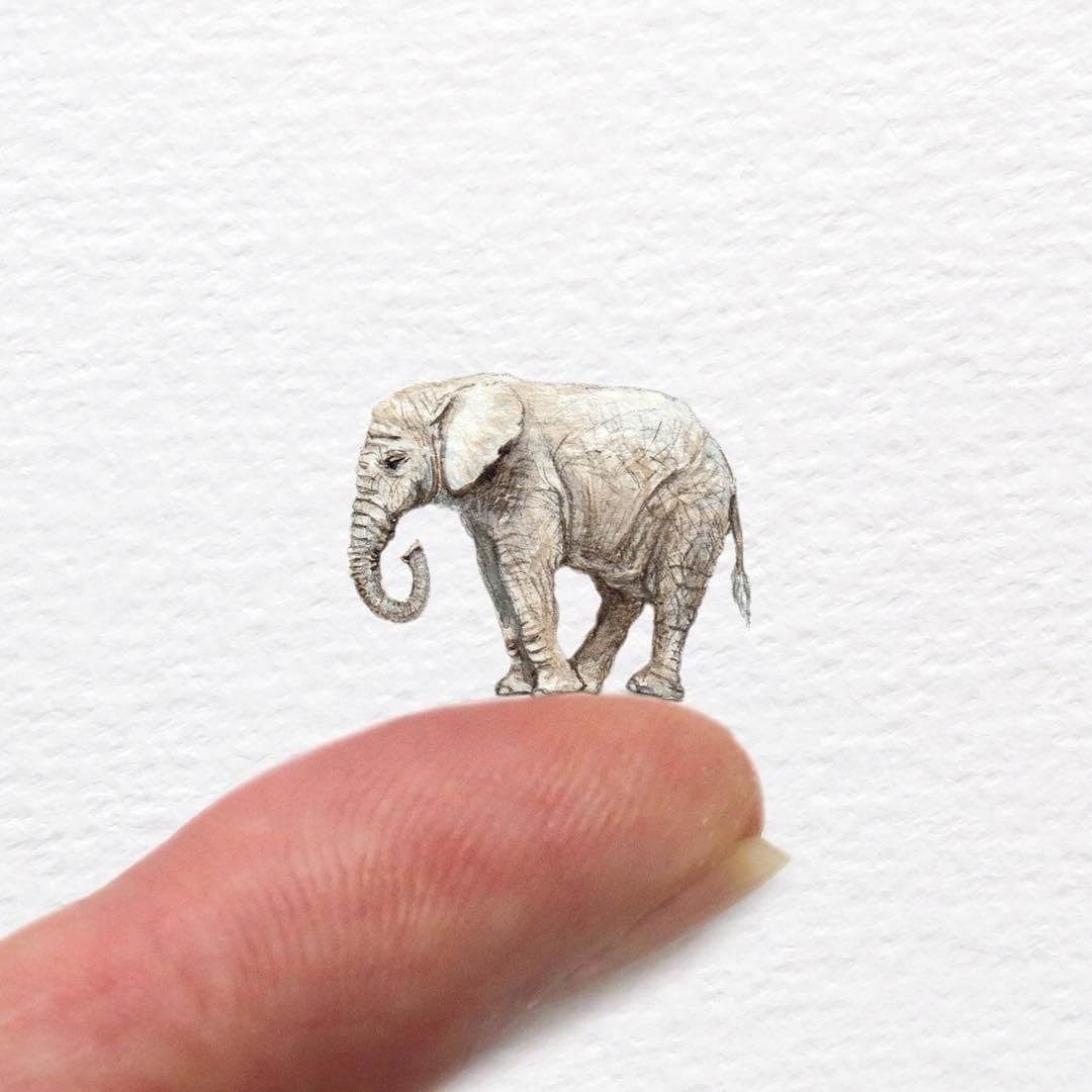 03-Jumbo-the-Elephant-Frank-Holzenburg-Animals-and-Fantasy-Creatures-Tiny-Paintings-www-designstack-co
