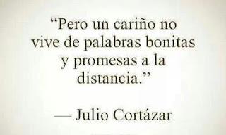 """""""Pero un cariño no vive de palabras bonitas y promesas a la distancia."""" Julio Cortázar"""