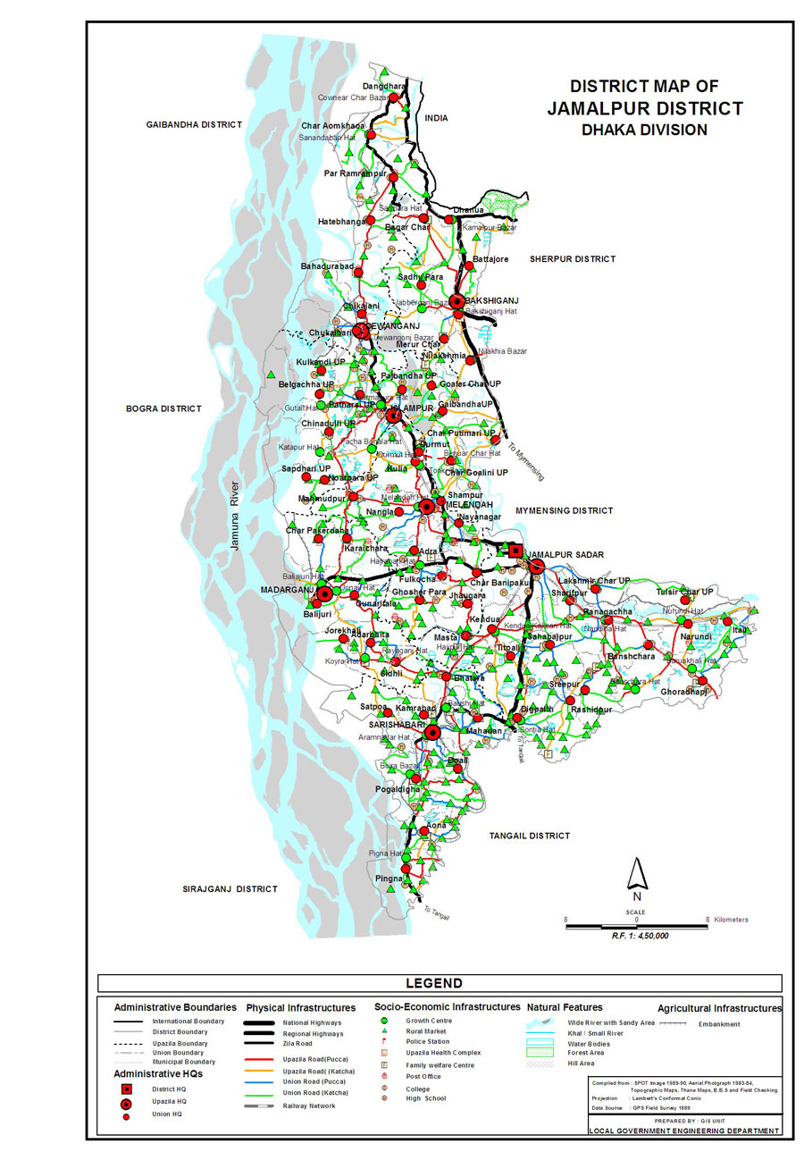 Jamalpur District Map Bangladesh