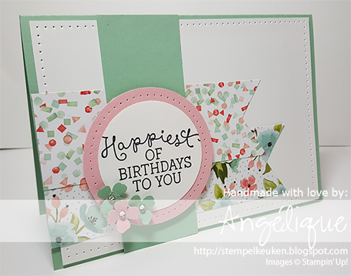 "http://stempelkeuken.blogspot.com de Stempelkeuken Birthday Blooms, Birthday Bouquet DSP, Blushing Bride, Mint Macaron, 2 1/2"" Circle Punch, 2"" Circle Punch, Itty Bitty Accents, Rhinestone Basic, Triple Banner Punch, Piercing Tool, Piercing Mat"