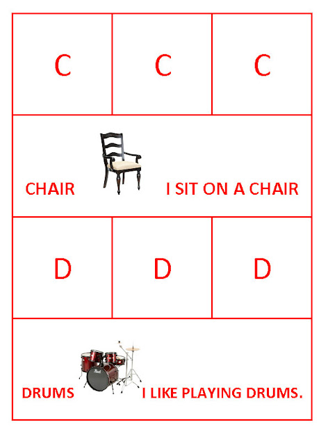 C for Chair and D fro Drums