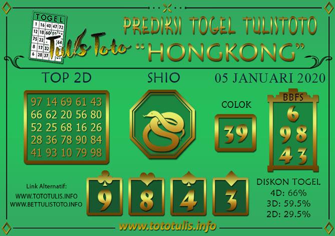 Prediksi Togel HONGKONG TULISTOTO 05 JANUARI 2020