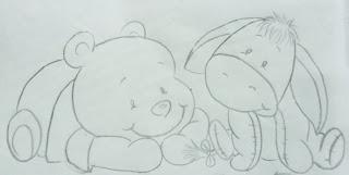 desenho para pintar de ursinho Pooh e Bisonho
