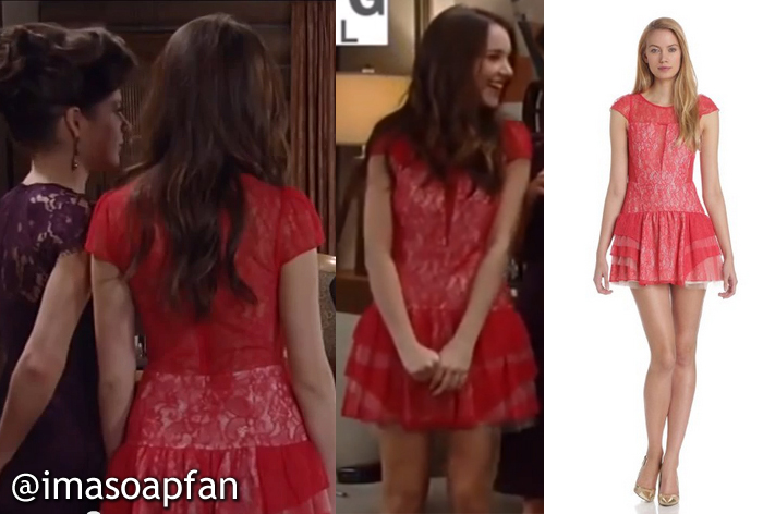 Molly Lansing Davis, Haley Pullos, Red Tiered-Seam Lace Dress, General Hospital, GH