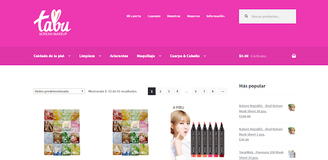 Captura del sitio web de Tabu Korean Makeup
