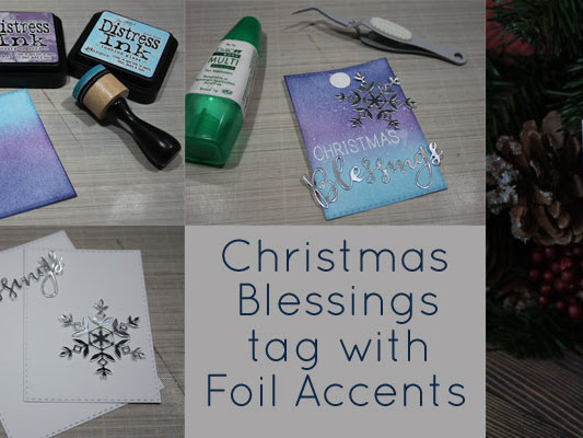 Christmas Blessings tag with foil accents