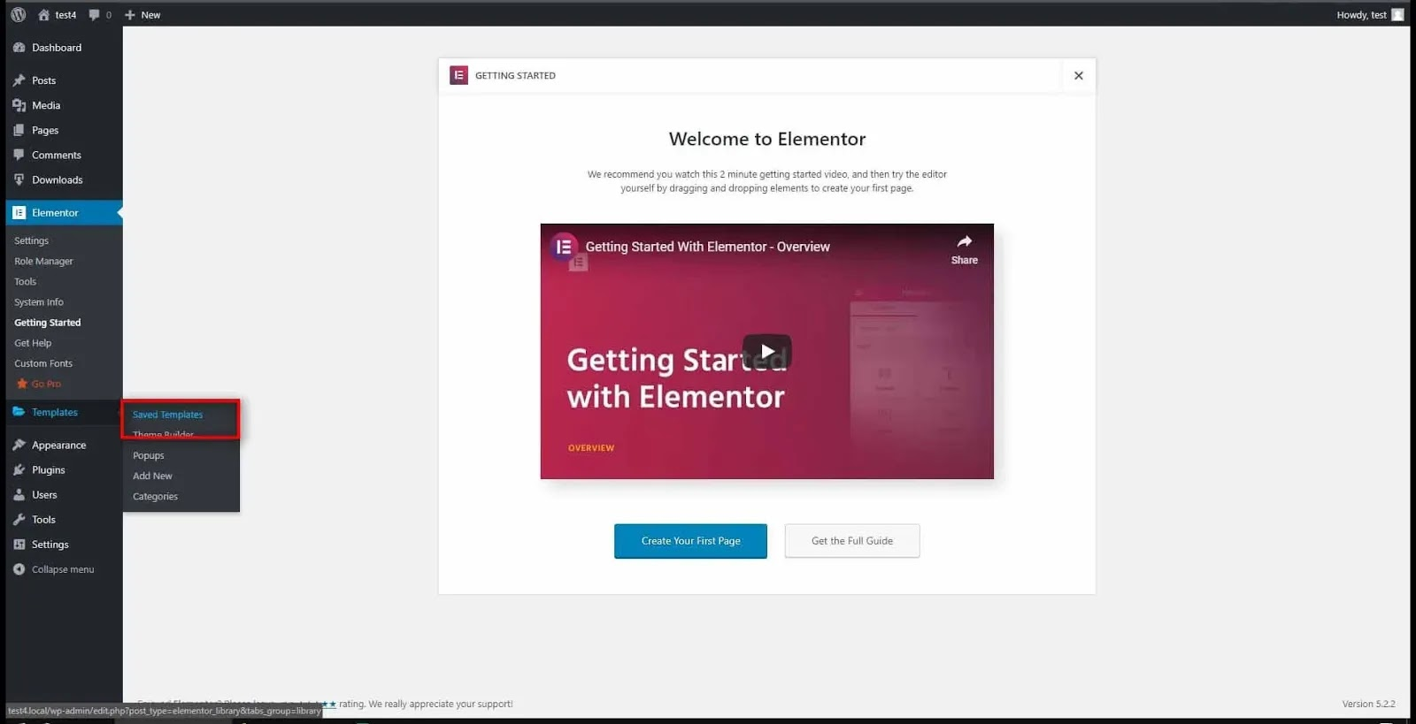 Welcome to Elementor page. Save Template option.