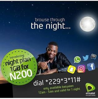 etisalat 1GB For N200 Night Plan