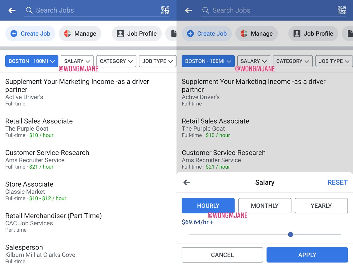 Facebook is testing salary filter in jobs search