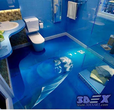 3d dolphin flooring photo printing for bathroom, 3d epoxy floor art