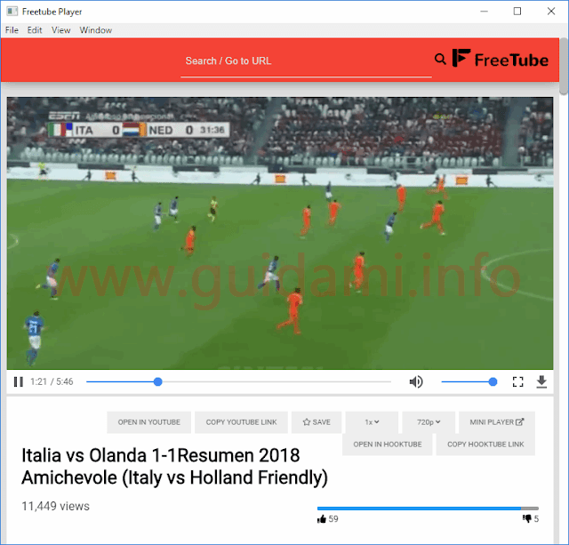 FreeTube Player video in riproduzione nel player