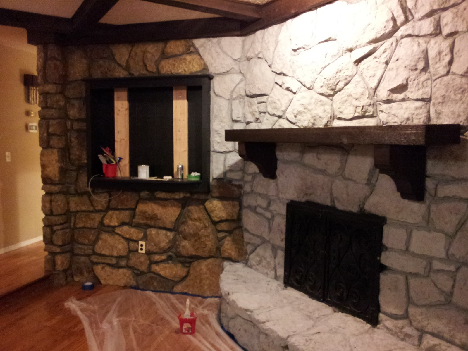 Mrs. Frog Prince: 1970's Stone Fireplace Makeover