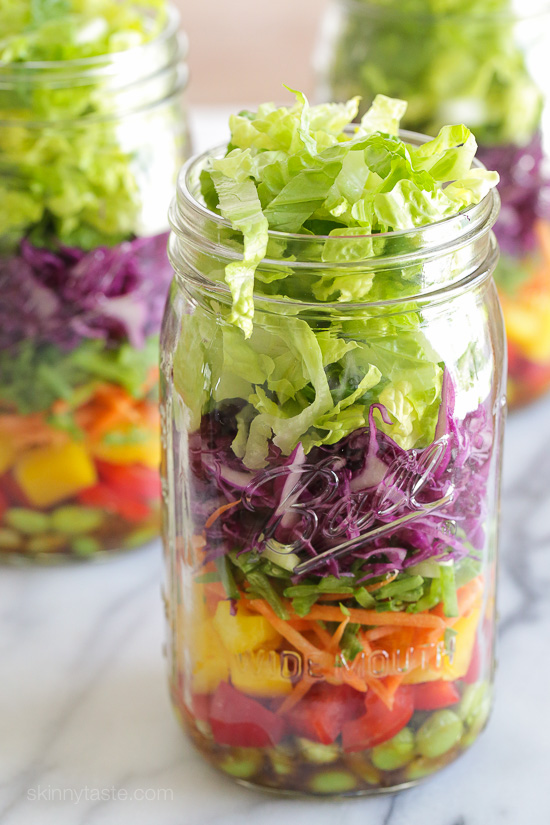 Asian Chopped Salad with Sesame Soy Vinaigrette (In a Jar) – perfect for lunch on the go! Weight Watchers Smart Points: 7 Calories: 231