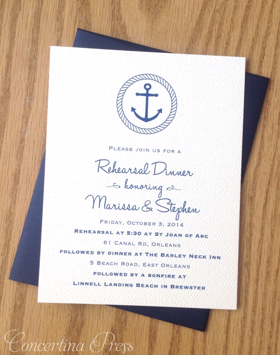 Cape Cod wedding blog photo from Concertina Press - Stationery and Invitations about Classic Anchor Rehearsal Dinner Invitations