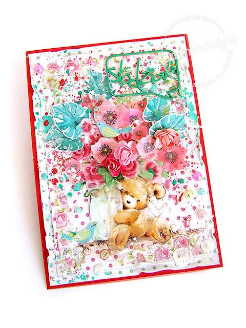 kwiaty i liscie wycięte są z papieru do scrapbookingu