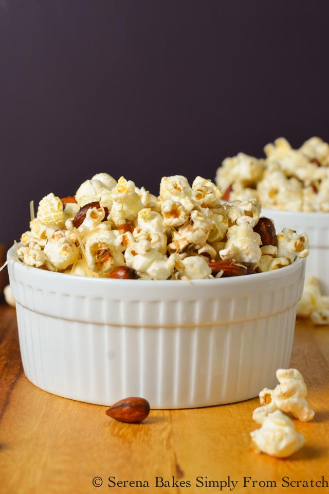 Rosemary Almond Parmesan Popcorn