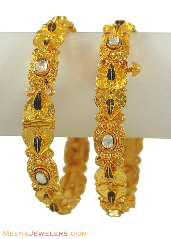 Indian Jewellery and Clothing: Latest antique gold bangle ...