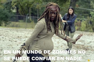 The Walking Dead 9x14 Michonne embarazada y peleando con niños
