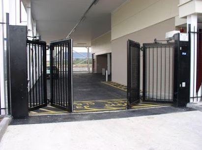 Black sliding iron gate