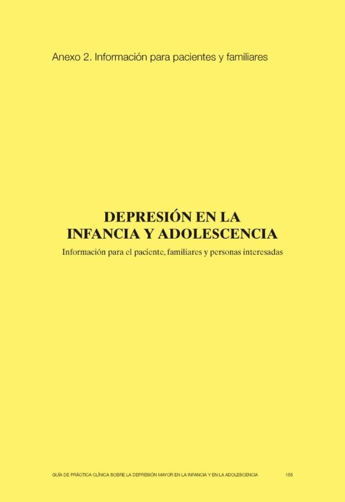 Depresión en la infancia y adolescencia: Información para el paciente, familiares y personas interesadas
