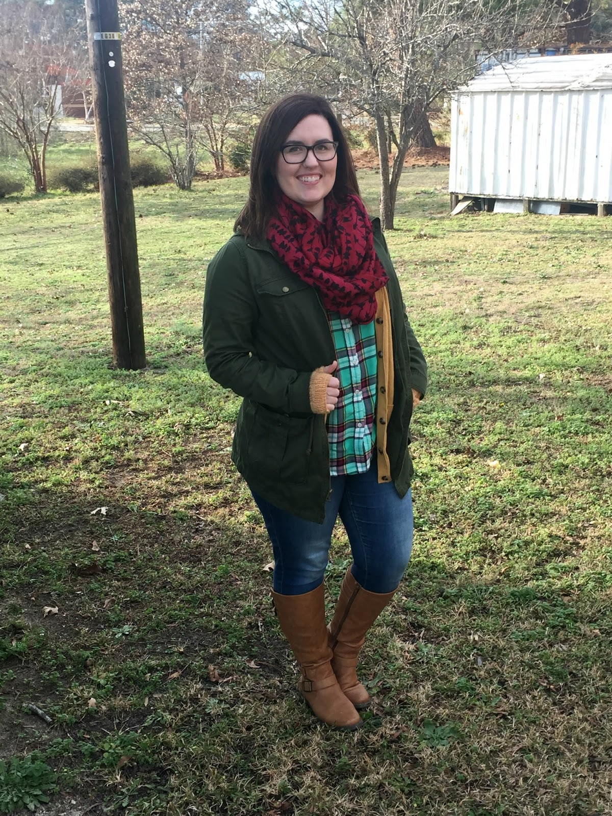 Rebecca Lately Target Plaid Top Cardigan Green Anorak Jacket