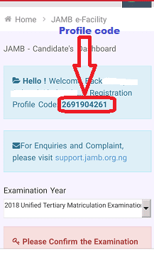 How to Retrieve jamb profile codes using E-facility & SMS method