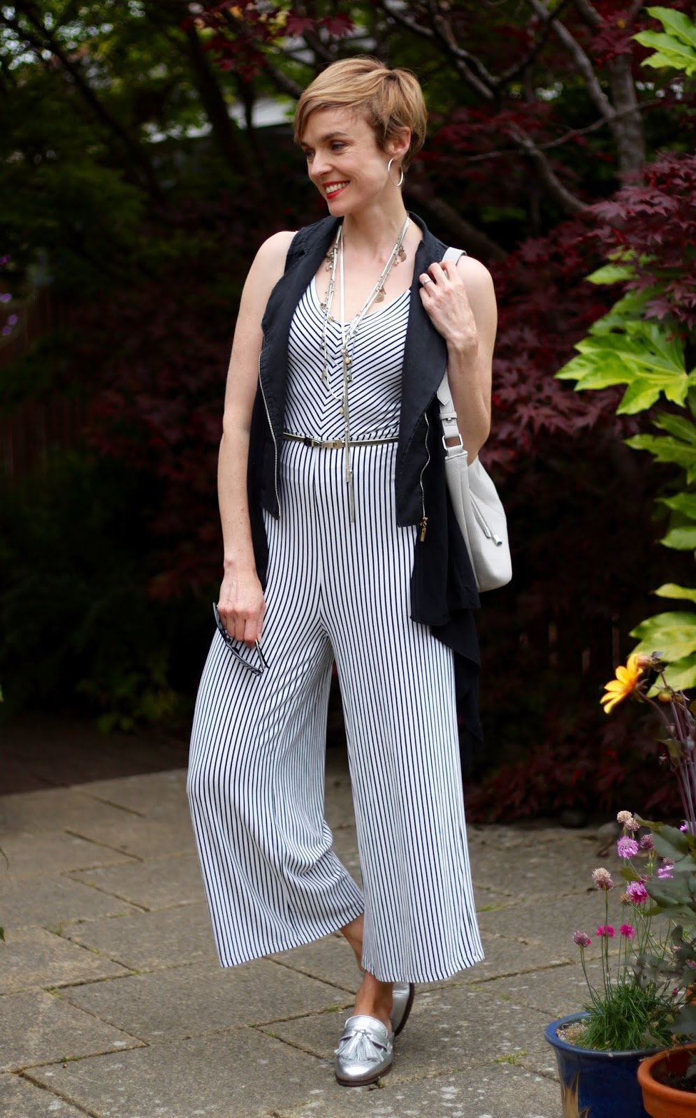 Bershka Striped jumpsuit, Silver Loafers, Black Linen Biker | Fake Fabulous