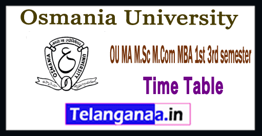 OU Osmania University MA M.Sc M.Com MBA 1st 3rd semester Time Table