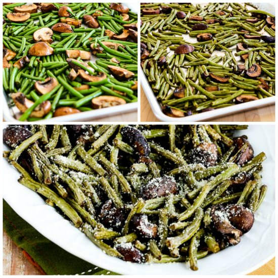 Roasted Green Beans with Mushrooms, Balsamic, and Parmesan.  [found on KalynsKitchen.com]