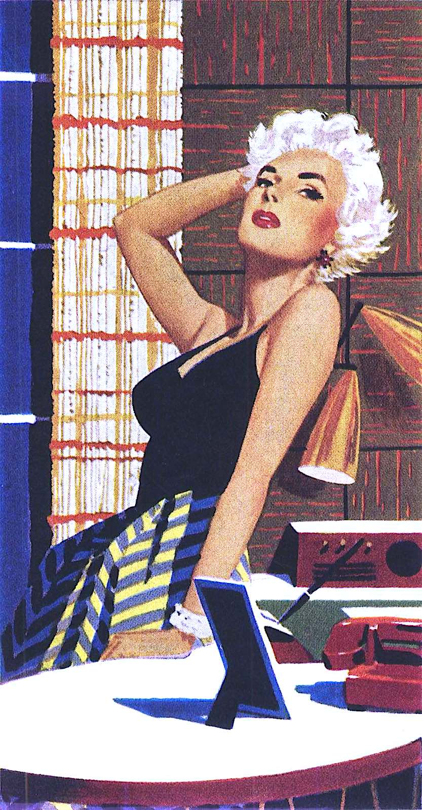 a James R. Bingham illustration of an alluring attractive woman in a modern home