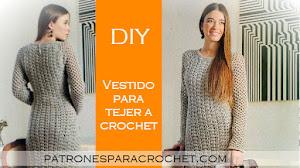 Patrones de Vestido de Mujer con Mangas Largas Crochet