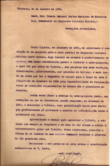 Projeto do Quartel da Polícia Militar, em Maruípe, Vitória.