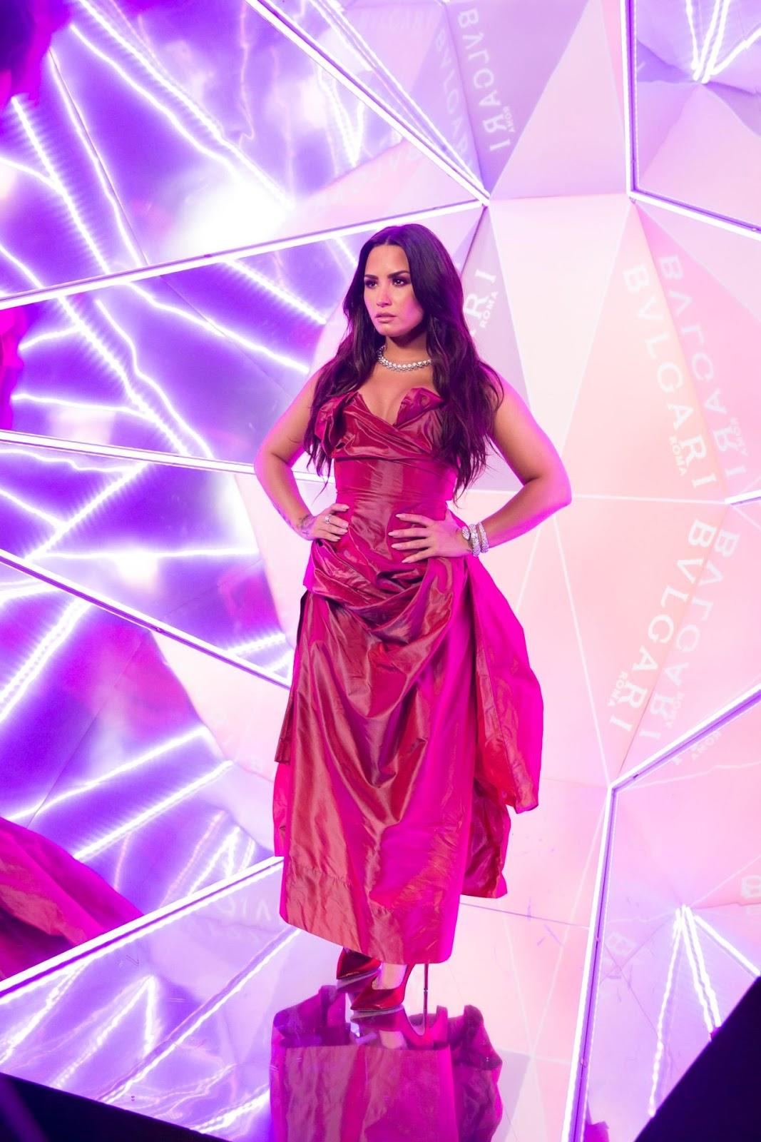 red carpet dresses demi lovato bulgari flagship store
