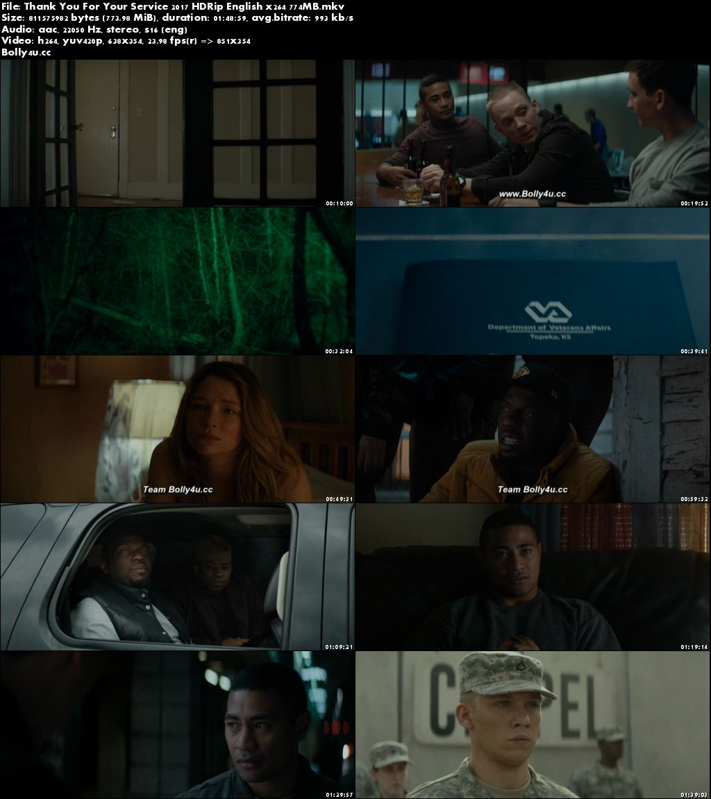 Thank You For Your Service 2017 HDRip 750MB English x264 ESub Download