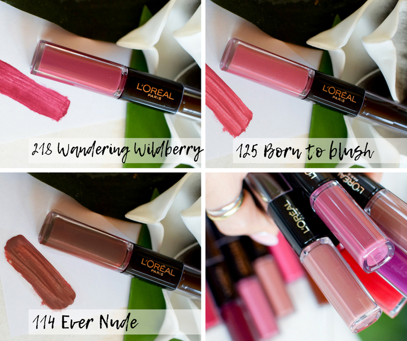 Swatch, L'Oréal Infaillible X3 24h Lip Color 218 Wandering Wildberry, 125 Born to blush, 114 Ever Nude