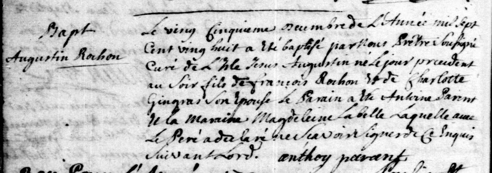 Baptism record of Augustin Rochon born in 1728