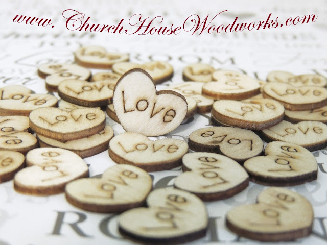 Wood Engraved Love Hearts For Rustic, Country, Barn Weddings, Bridal or Baby Showers by Church House Woodworks
