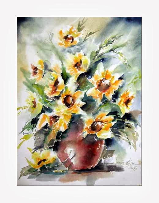 aquarellzauber sonnenblumen in der vase. Black Bedroom Furniture Sets. Home Design Ideas