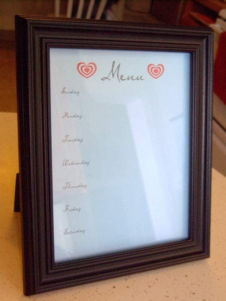DIY Dry-Erase Menu Board with Free Printables blank