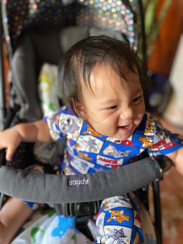 Our little boy enjoying his Aprica Baby Stroller