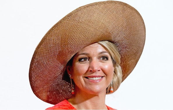 King Willem-Alexander, Queen Maxima and Princess Beatrix  attends the Four Freedoms Award ceremony in Middelburg. The International Four Freedoms Award is awarded to German chancellor Angela Merkel. Winners of the other awards are Mazen Darwish, Dr. Denis Mukwege. Queen Maxima wore Natan dress